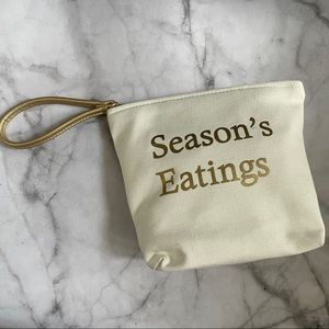 Season's Eatings beige gold zippered pouch